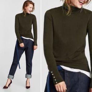 Zara Knit Turtleneck Sweatshirt Dark Green